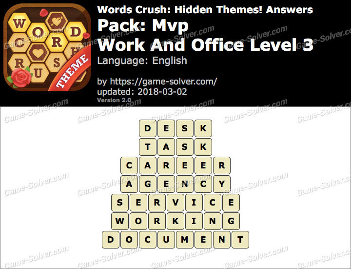 Words Crush Mvp-Work And Office Level 3 Answers