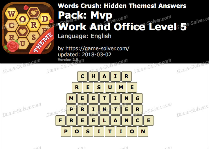 Words Crush Mvp-Work And Office Level 5 Answers