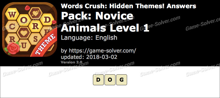 Words Crush Novice-Animals Level 1 Answers