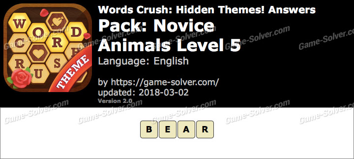 Words Crush Novice-Animals Level 5 Answers