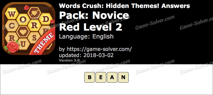 Words Crush Novice-Red Level 2 Answers