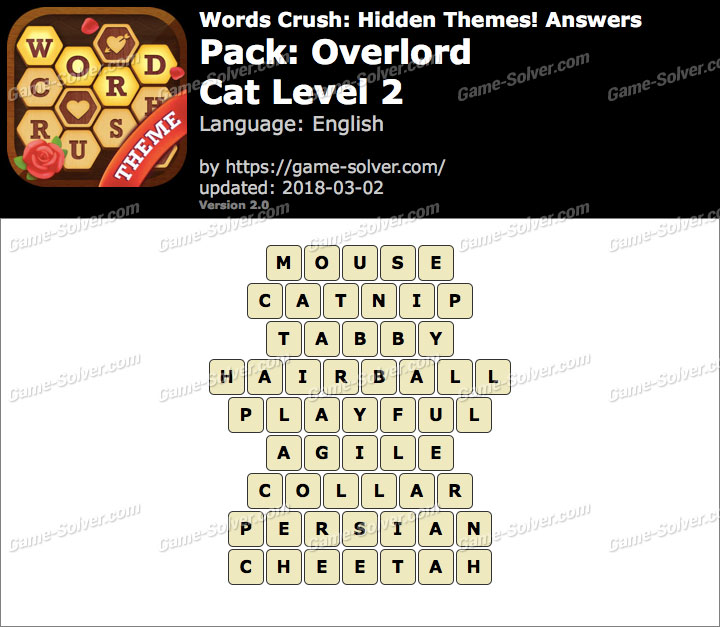 Words Crush Overlord-Cat Level 2 Answers