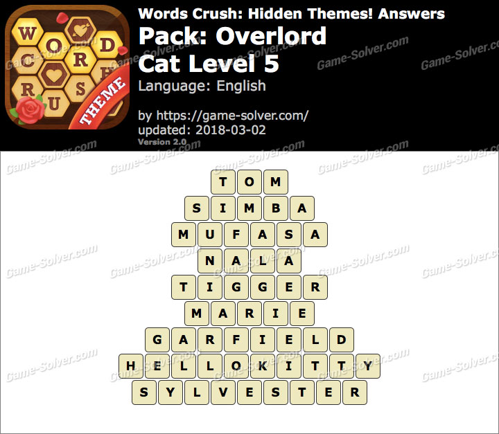 Words Crush Overlord-Cat Level 5 Answers