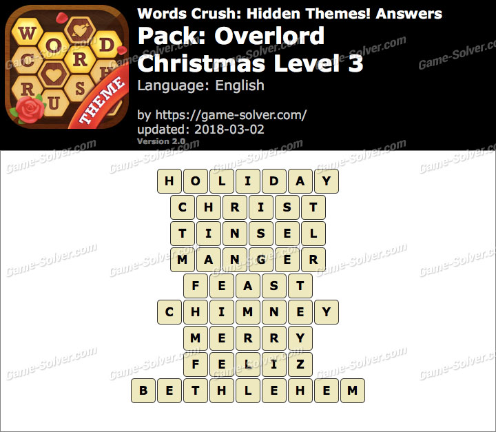 Words Crush Overlord-Christmas Level 3 Answers