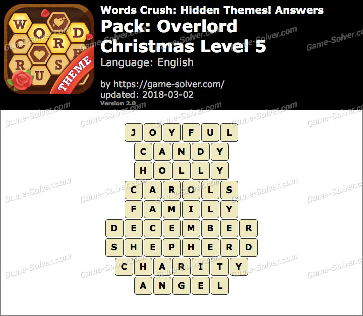 Words Crush Overlord-Christmas Level 5 Answers