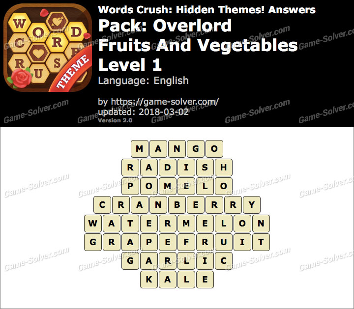 Words Crush Overlord-Fruits And Vegetables Level 1 Answers