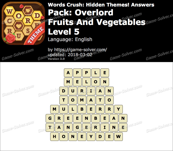 Words Crush Overlord-Fruits And Vegetables Level 5 Answers