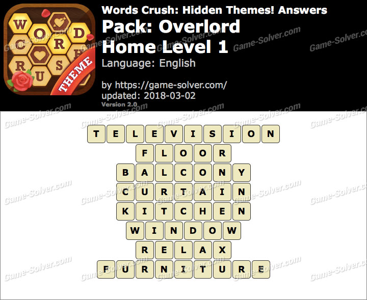 Words Crush Overlord-Home Level 1 Answers