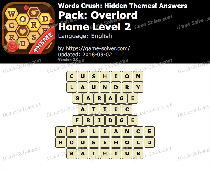 Words Crush Overlord-Home Level 2 Answers