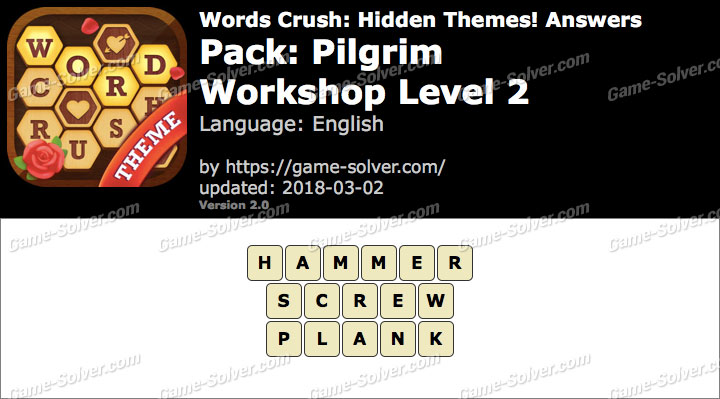 Words Crush Pilgrim-Workshop Level 2 Answers