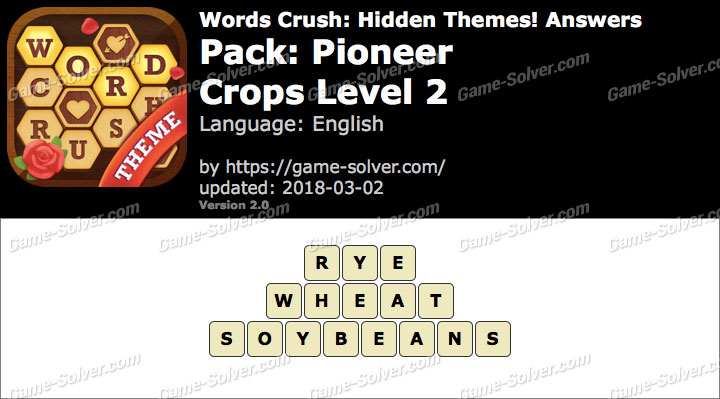 Words Crush Pioneer-Crops Level 2 Answers