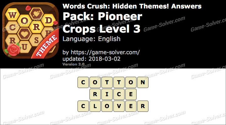 Words Crush Pioneer-Crops Level 3 Answers