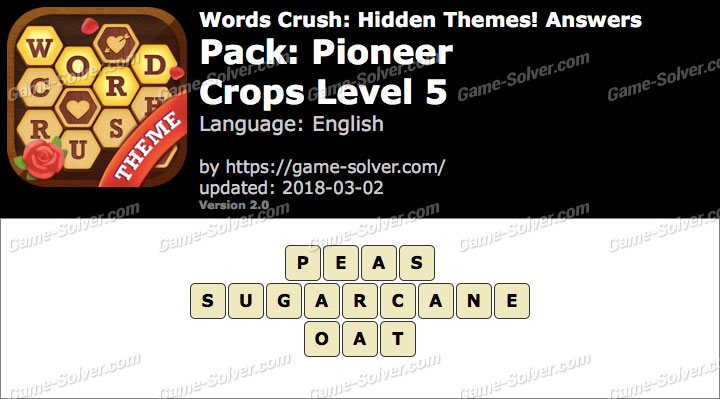 Words Crush Pioneer-Crops Level 5 Answers