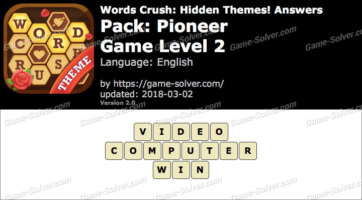 Words Crush Pioneer-Game Level 2 Answers