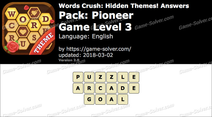 Words Crush Pioneer-Game Level 3 Answers