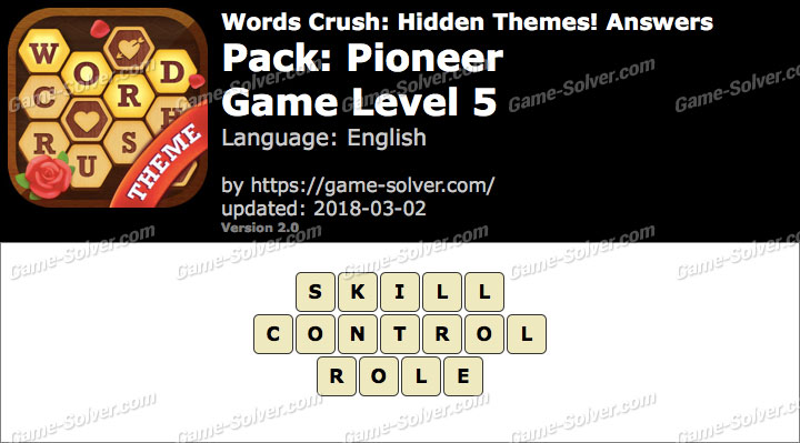 Words Crush Pioneer-Game Level 5 Answers