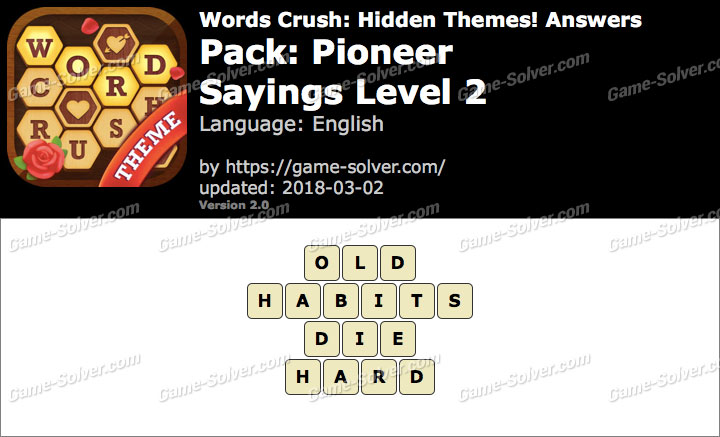 Words Crush Pioneer-Sayings Level 2 Answers