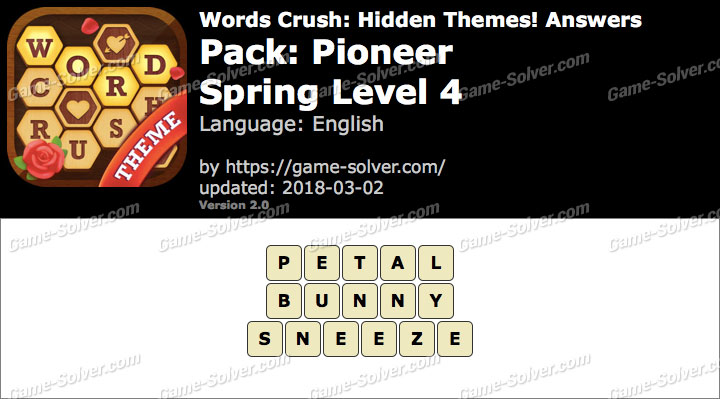 Words Crush Pioneer-Spring Level 4 Answers