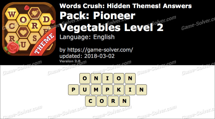 Words Crush Pioneer-Vegetables Level 2 Answers