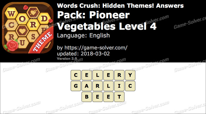 Words Crush Pioneer-Vegetables Level 4 Answers