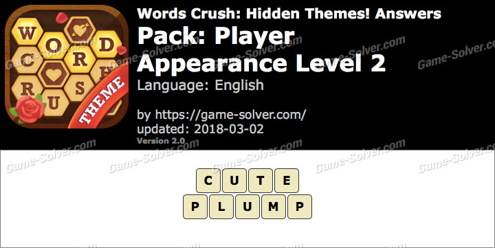 Words Crush Player-Appearance Level 2 Answers
