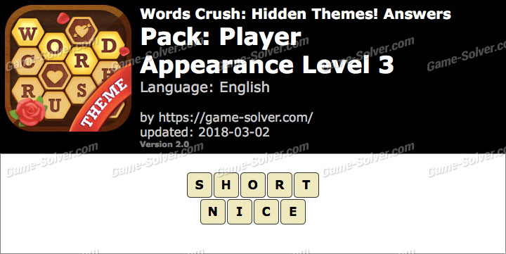 Words Crush Player-Appearance Level 3 Answers