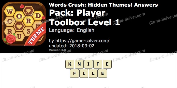 Words Crush Player-Toolbox Level 1 Answers