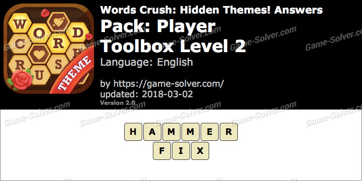 Words Crush Player-Toolbox Level 2 Answers