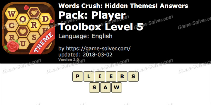 Words Crush Player-Toolbox Level 5 Answers