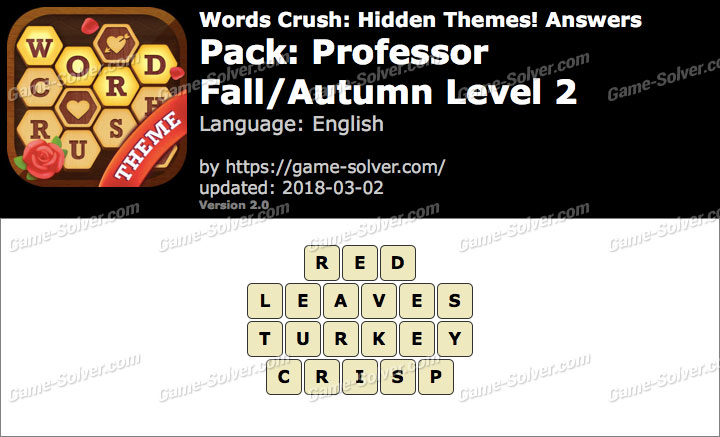 Words Crush Professor-Fall Autumn Level 2 Answers