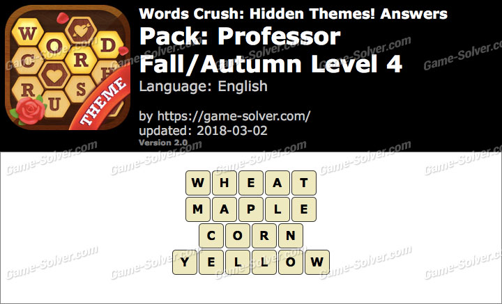Words Crush Professor-Fall Autumn Level 4 Answers