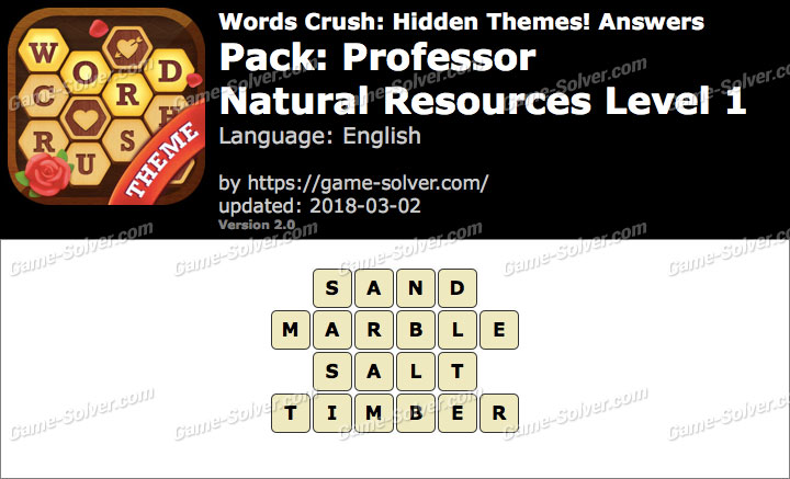 Words Crush Professor-Natural Resources Level 1 Answers