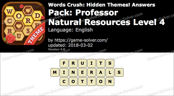 Words Crush Professor-Natural Resources Level 4 Answers