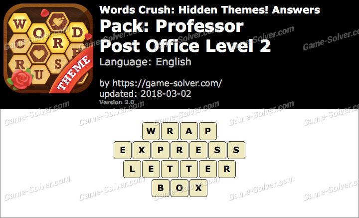 Words Crush Professor-Post Office Level 2 Answers