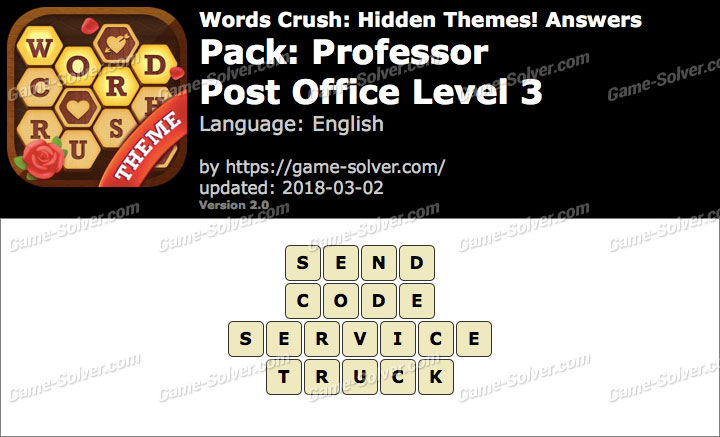 Words Crush Professor-Post Office Level 3 Answers
