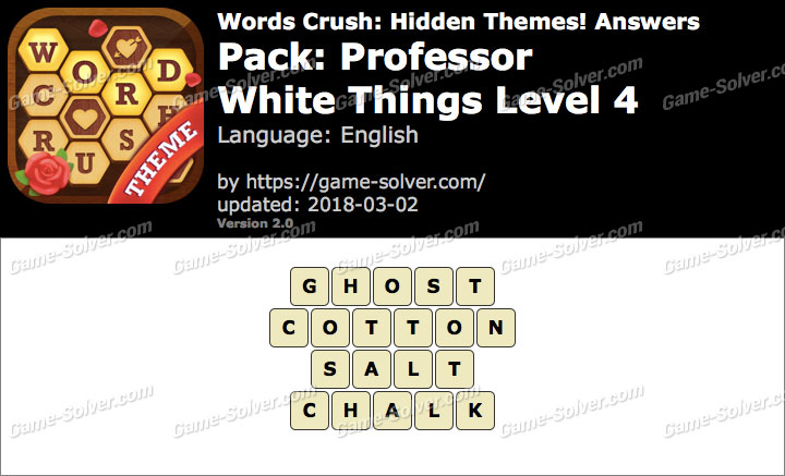 Words Crush Professor-White Things Level 4 Answers