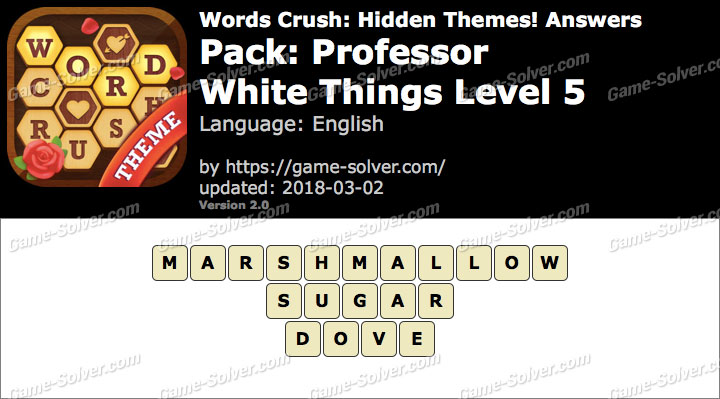 Words Crush Professor-White Things Level 5 Answers