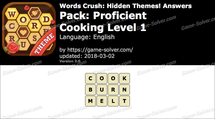 Words Crush Proficient-Cooking Level 1 Answers
