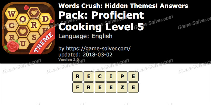 Words Crush Proficient-Cooking Level 5 Answers