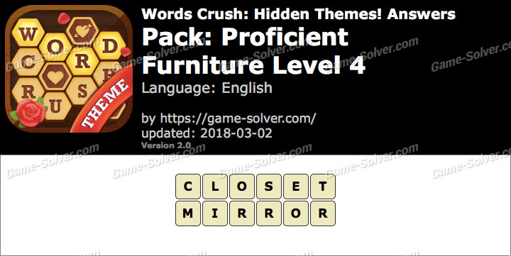 Words Crush Proficient-Furniture Level 4 Answers