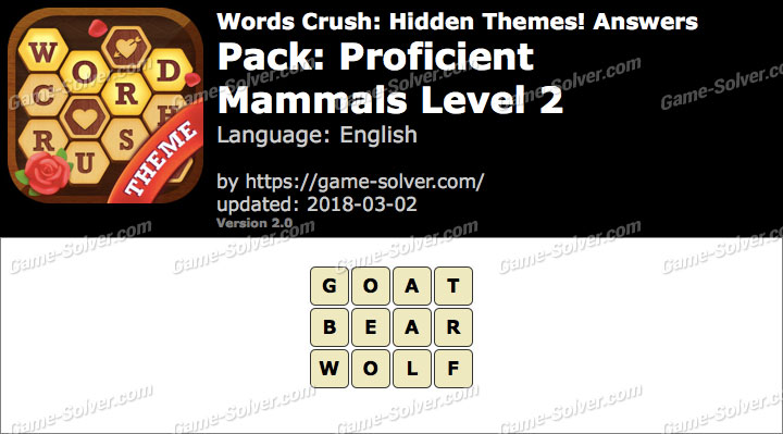 Words Crush Proficient-Mammals Level 2 Answers
