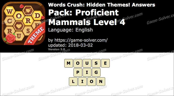 Words Crush Proficient-Mammals Level 4 Answers