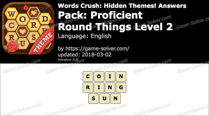 Words Crush Proficient-Round Things Level 2 Answers