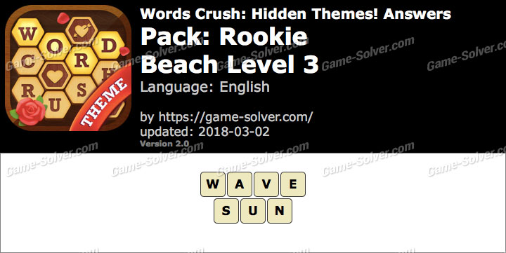 Words Crush Rookie-Beach Level 3 Answers