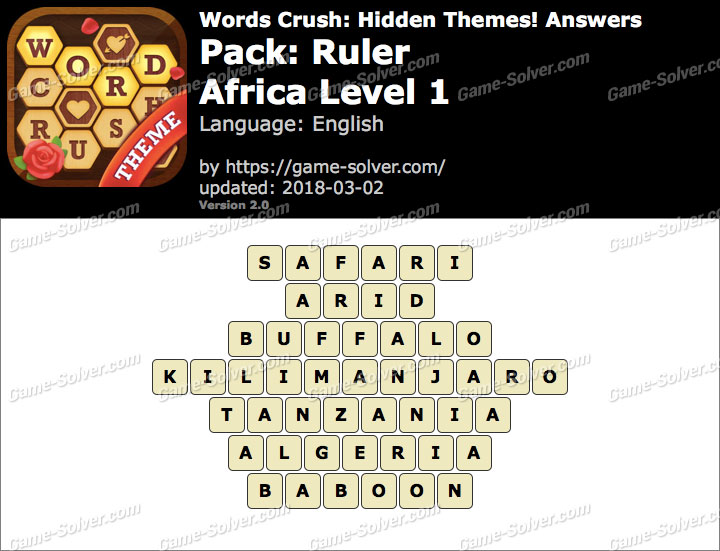 Words Crush Ruler-Africa Level 1 Answers
