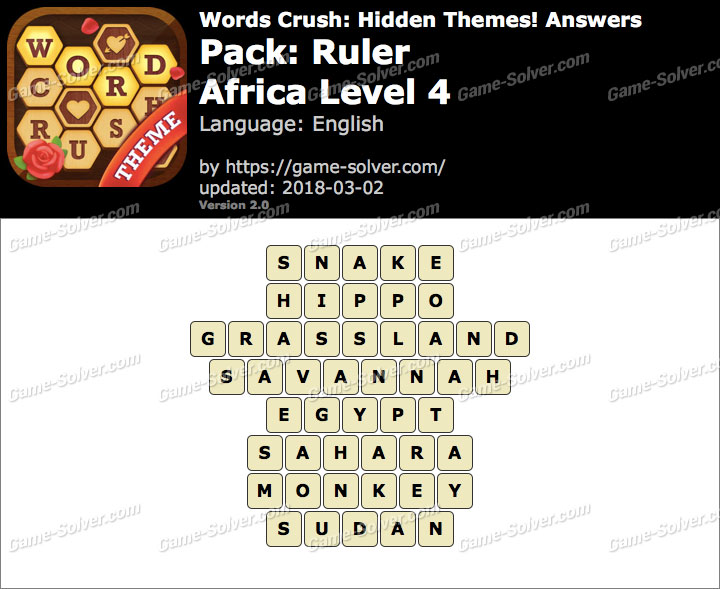 Words Crush Ruler-Africa Level 4 Answers