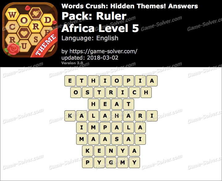 Words Crush Ruler-Africa Level 5 Answers