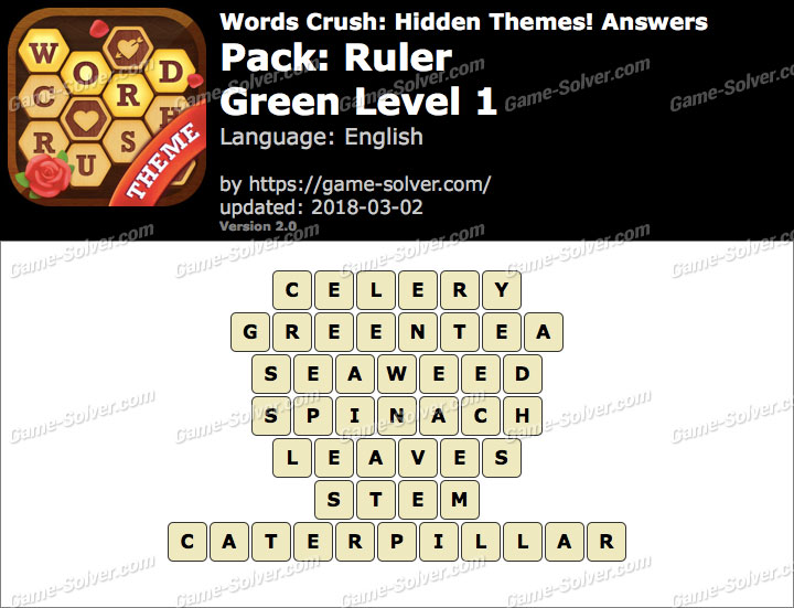 Words Crush Ruler-Green Level 1 Answers