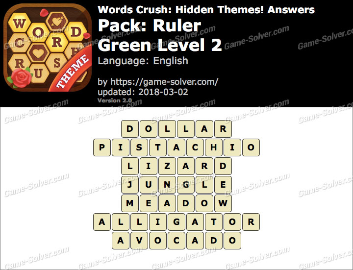 Words Crush Ruler-Green Level 2 Answers