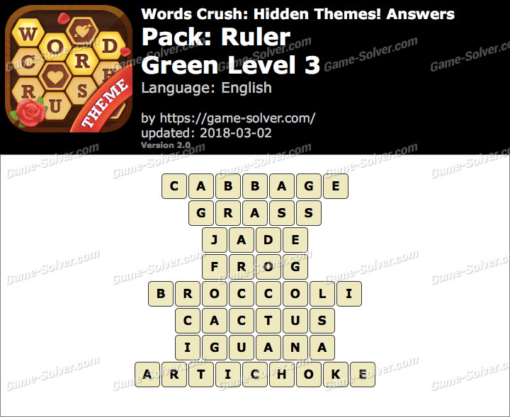 Words Crush Ruler-Green Level 3 Answers